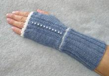 Gray Gloves with White Beads and White Trim