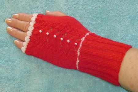 Red fingerless gloves with white beads and trim