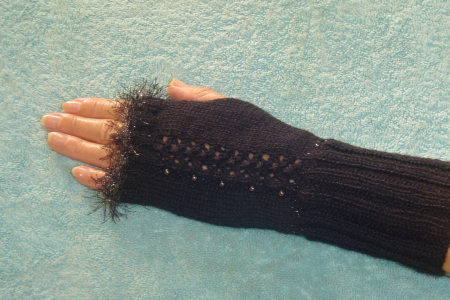Dark Brown Fingerless Gloves with Fancy Fun Fur