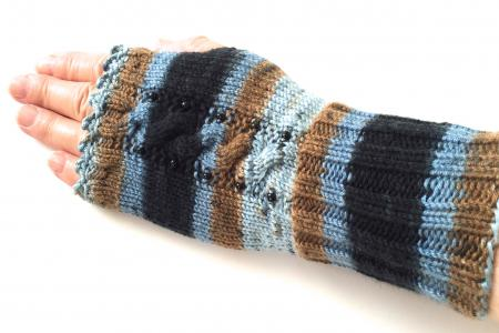 Blue and Brown Striped Fingerless Gloves with accent beads