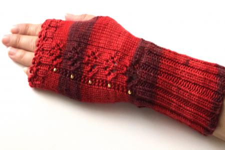 Red and Dark Red Fingerless Gloves with Gold Beads