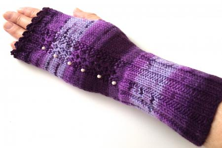 Exquisite Fingerless Gloves with Accent Beads and Purple Hues