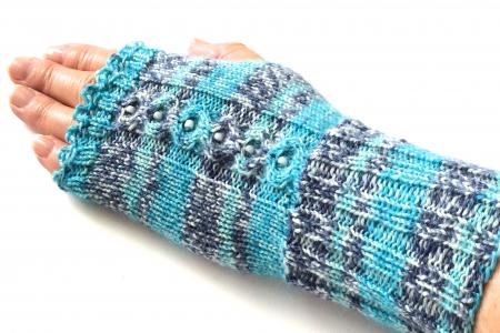 Pretty Beaded Turquoise and Blue Striped Gloves