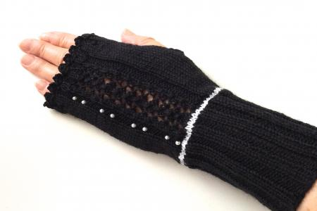 Black Fingerless Gloves with White Beads and Trim