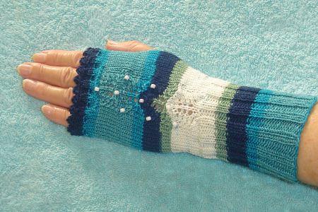Fingerless gloves with shades of blue and green accented with white beads
