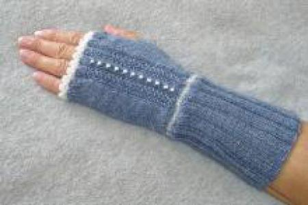 Fingerless gloves with White Beads and Trim