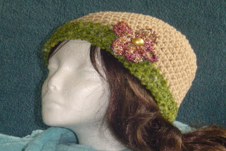 Crocheted Brown Hat with Gold & Red flower with Green Trim