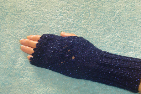 Fingerless Gloves in Navy Blue Sparkle